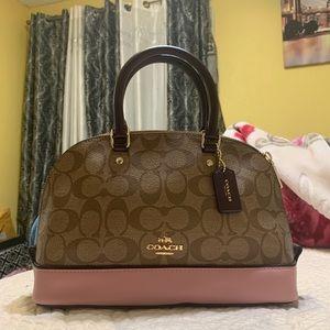Coach pink and tan satchel